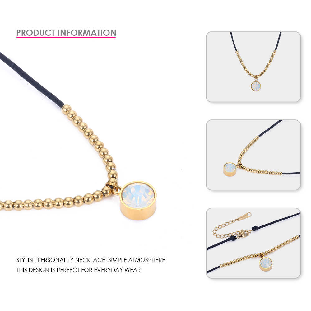 eManco Stainless Steel Pendants Necklaces For Women Round Charming Choker Necklaces Rhinestone Classic Fashion Jewelry Gifts