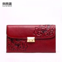 2016 New Women Genuine Leather Wallet Brands Fashion Chinese Style Embossing Envelope Women Leather Clutch Bag