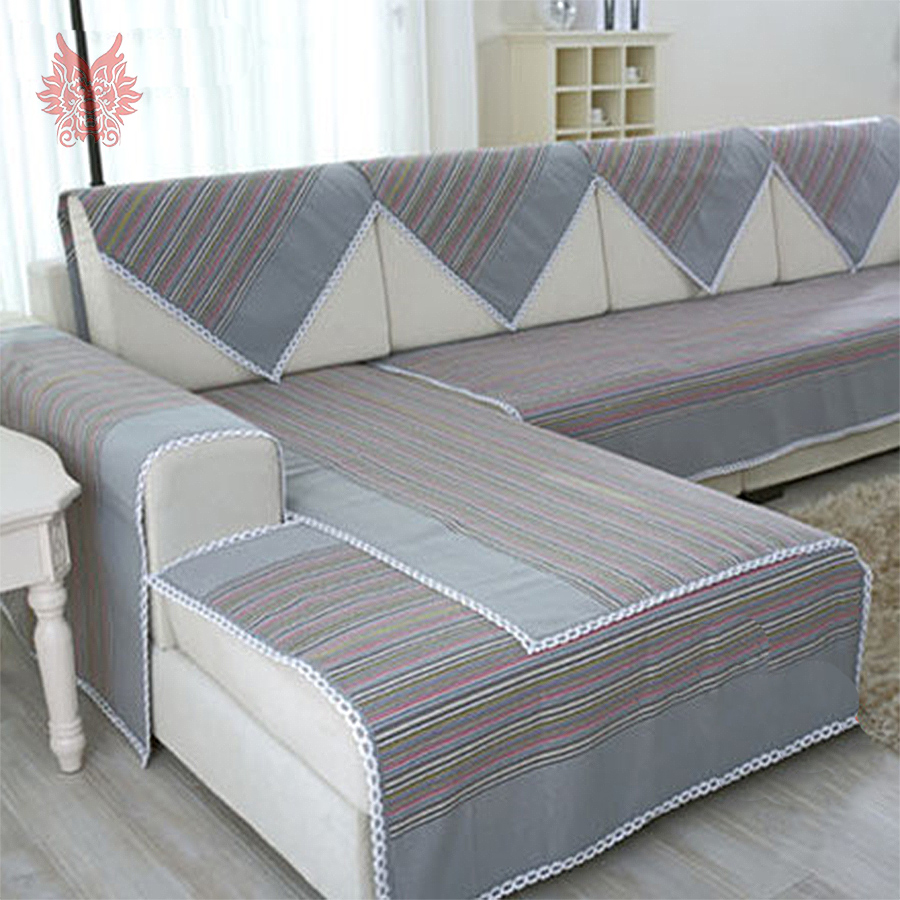Modern Blue Grey Striped 100 Pure Cotton Sofa Cover Lace