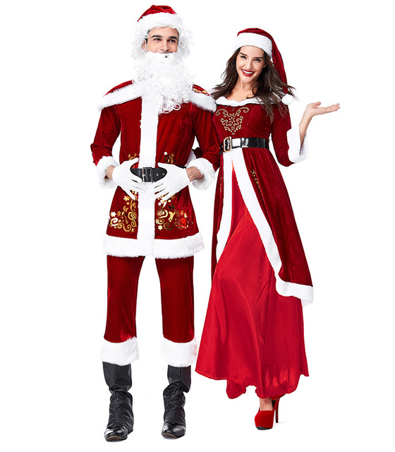 265147710f0a0 Christmas Costumes Santa Claus For Adults Red Velvet Christmas Clothes Santa  Claus Costume Luxury Suit Xmas cosplay costume