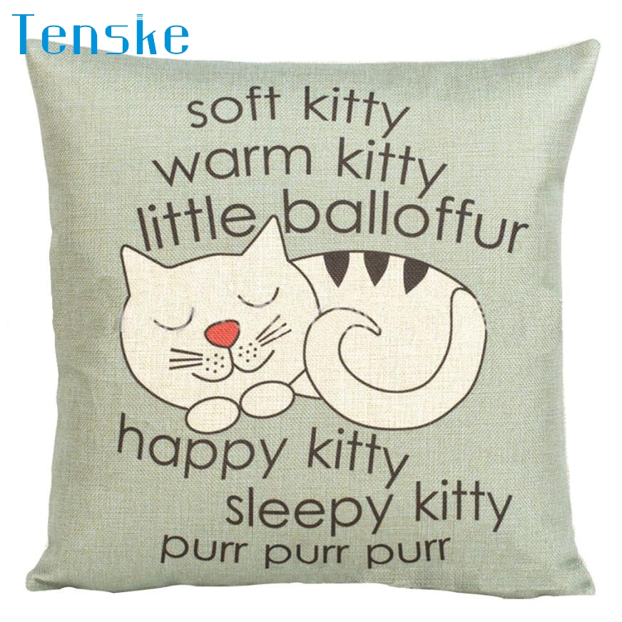 Prevalent New Cat Pattern Beige Linen Square Grus Flax Pillowcase Decorative Cushion 1X Pillow cove drop shipping Apr04