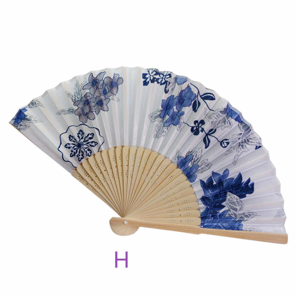 Vintage Bamboo Folding Hand Held Flower Fan Chinese Dance Party Pocket Gifts Practical Summer fans #65