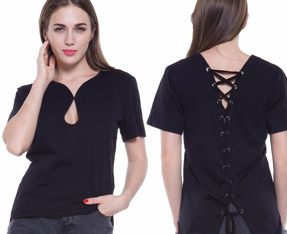 082c6b5055f Women Tshirt Sexy Lace Up Open Back Short Sleeve V-Neck Shirts Fashion  Casual Hollow Out Dovetail Women Tops Black Plue Size