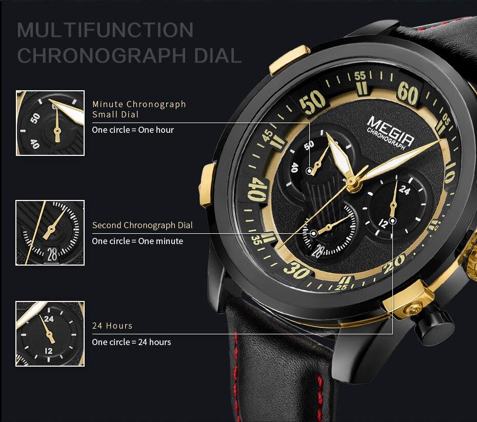 Topdudes.com - MEGIR Military Fashion Chronograph Quartz Sports Relogio Masculino Watch