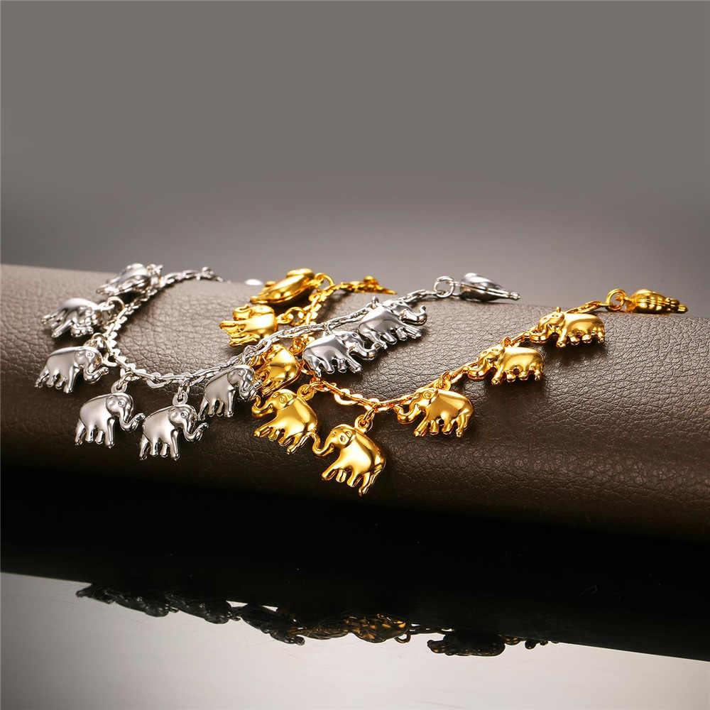 U7 mały słoń łańcuszek na kostkę dla kobiet prezent srebrny/złoty kolor hurtownie Cute Animal biżuteria letnia stóp łańcuszek na kostkę A319