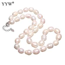 Freshwater Pearl Brass Necklace Brass With 4cm Extender Chain Potato Silver Color Plated For Woman White Approx 16.5 Inch shiny eyeglass brass chain spectacle retainer electro plated with silver embedded with black acrylic beads