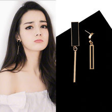 2018 New Fashion Long Tassel Dangle Drop Earrings For Women Unique Asymmetric geometry Earring Temperament Wedding Party Jewelry(China)
