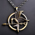 2016 Popular Movie The Hunger Games Necklace & Pendants Vintage Style Birds Golden Sweater Chain For Women Party Christmas Gifts