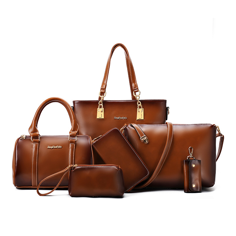 New 2016 Fashion Brand High-grade leather Women Handbag Europe and America Oil Wax Leather Shoulder Bag Casual Women Bag 6 Sets new 2016 fashion brand genuine leather women handbag europe and america shoulder bag casual women bag page 5