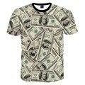 Новая Мода Забавный 3D футболки мужчин/женщин 3D Футболки печатаются много денег долларов Футболка топы MDT114