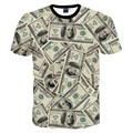 New Fashion Funny 3D t-shirt men/women's 3D Tshirt printed lots of money dollars T-shirt tops MDT114