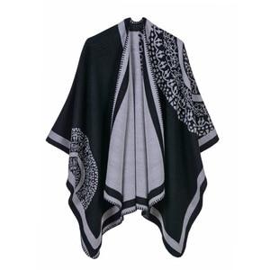 Image 4 - 2019 frauen Outwear Winter Schals Herbst Kaschmir Ponchos Decke Damen Stricken Schal Cape Cashmere Schal Poncho Dame Pashmina