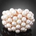 Novo 2016 de Luxo Atacado Rose Banhado A Ouro Imitação de Pérolas Completa Beads Bola Anéis de Casamento Para As Mulheres FRETE GRÁTIS J00156
