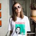 No es de Cigarrillos Mujeres Impresión de la Letra T Camisa de Algodón Ocasional Camisa Divertida de Señora Blanco Negro Top Camiseta Inconformista