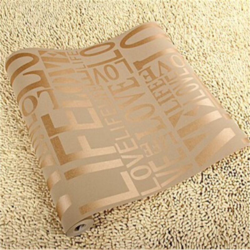 ФОТО beibehang wall paper 6color European Contemporary Art Deco Flocking Letter Wallpaper 3D wall paper Roll For TV Sofa Background