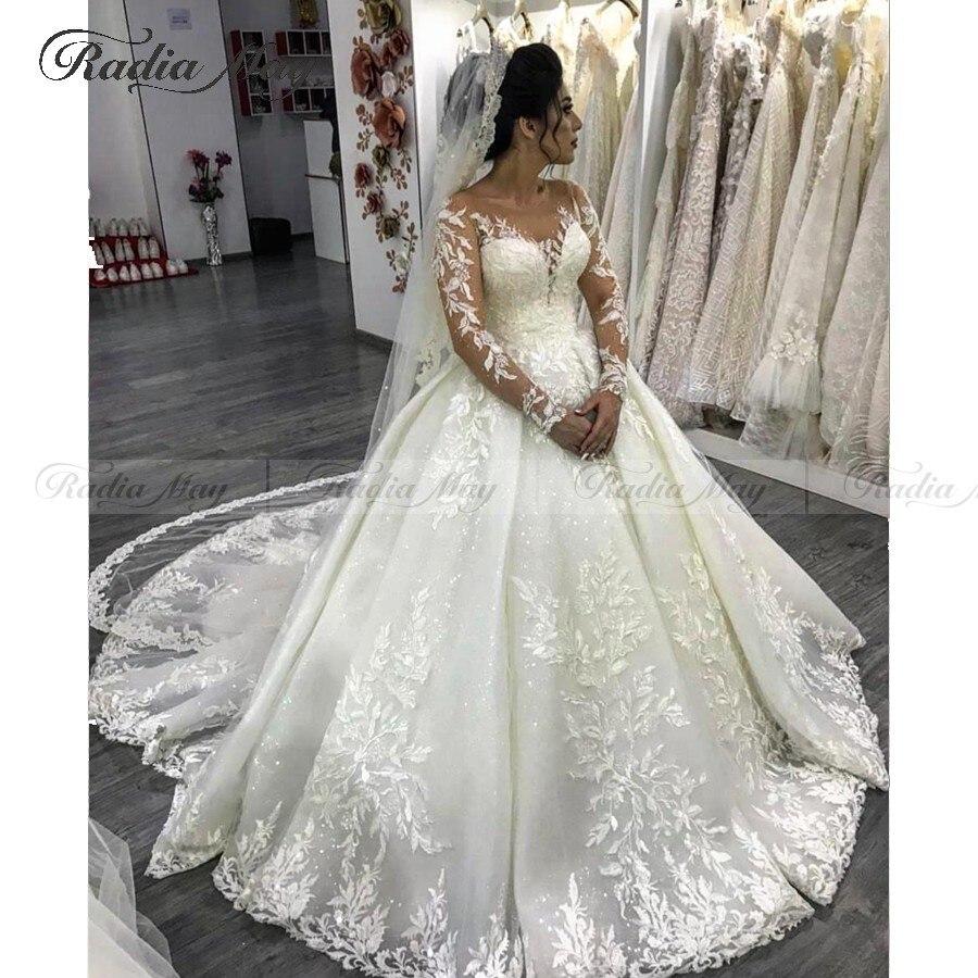 Glitter Sequin White Ball Gown Long Sleeves Arabic Wedding