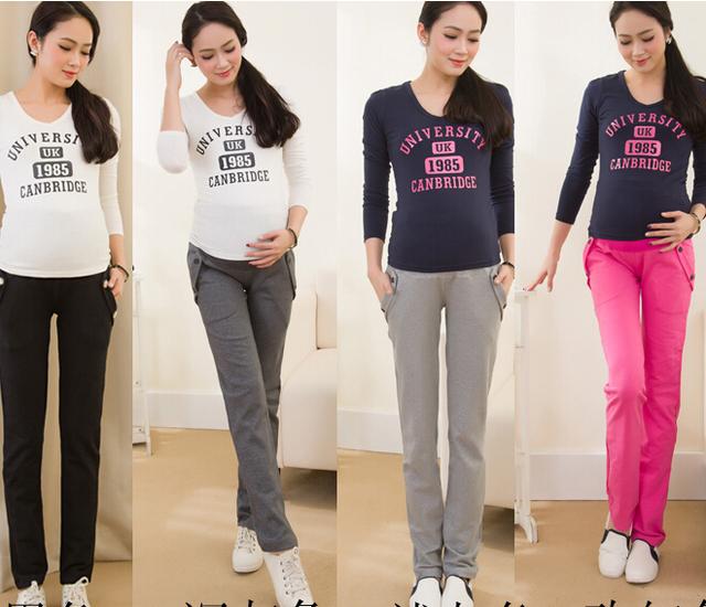 Algodón Casual Pantalones Para Mujeres Embarazadas Ropa de Maternidad de Maternidad Pantalones Pantalones de Ropa De Maternidad Vestido de Embarazo