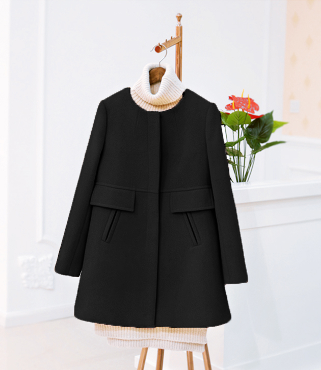 New 19 Spring Autumn Plus Size Wool Coat Women Loose A-aline Long Sleeved O-neck Medium Long Black Yellow Korean Coat Casacos 4