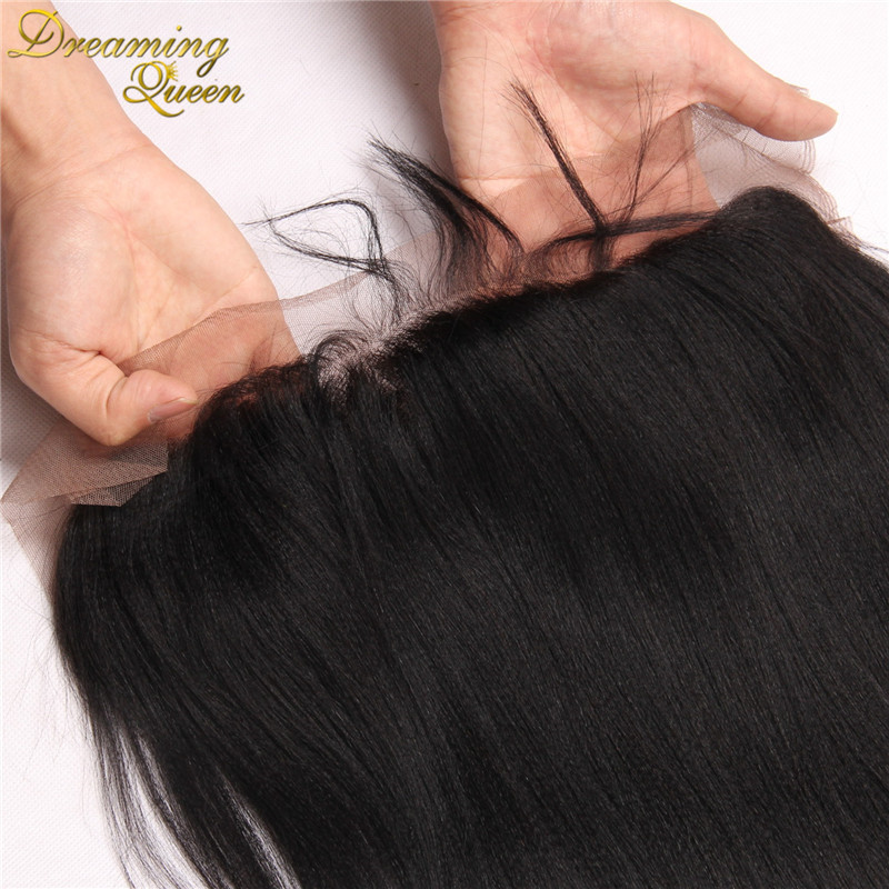 13x4 Indian Yaki Straight Full Lace Frontal Closure With Baby Hair Malaysian Virgin Human Hair Bleached