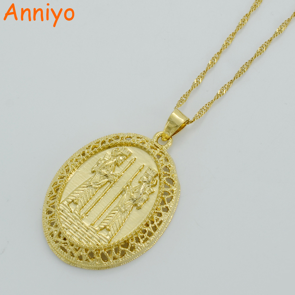 Anniyo Iran Warrior Necklaces for Women/Men,Iranians Pendant Jewelry Ancient Persia Necklaces Gold Color Arab #005012