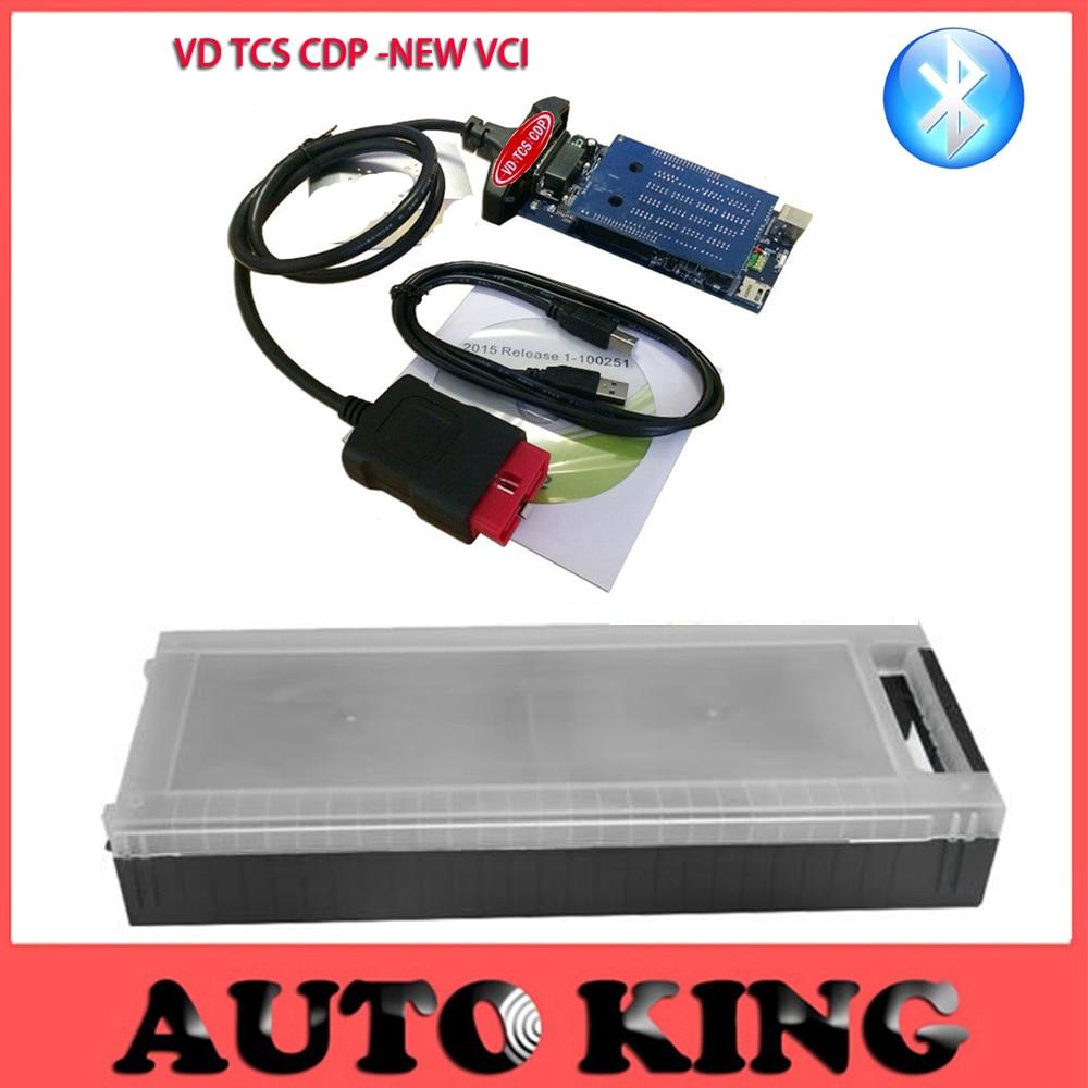 Цена за Новый VCI CDP VD-TCS ВОМ мвд авто Диагностический Инструмент с Bluetooth + пластиковые коробки для Автомобилей и Грузовиков --- доставка БЕСПЛАТНО