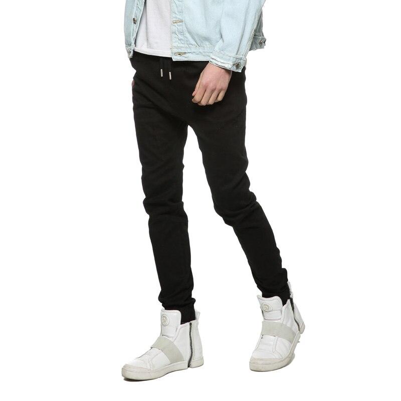 86bd1ad7eb5c9 Taille européenne De Mode Unique Classique Hommes Jogger Pantalon Stretch  Tissus Slim Homme Pur Coton Cordon Pantalon de Faisceau dans Maigre Pantalon  de ...