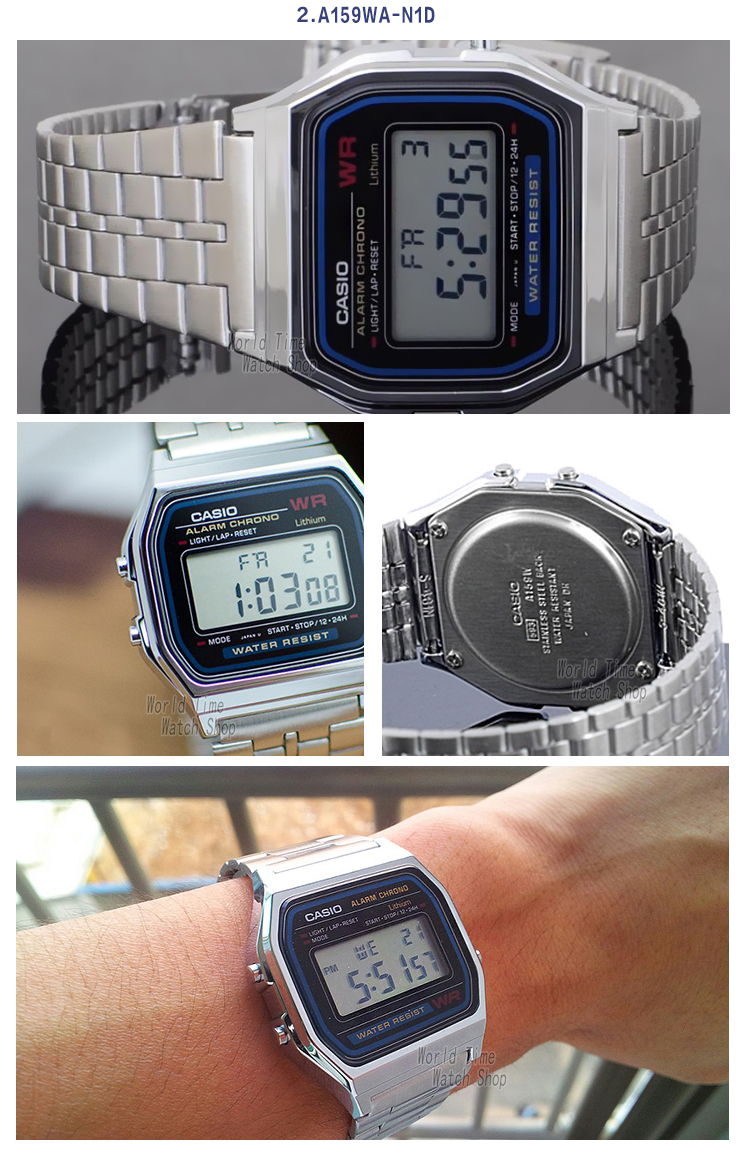 Casio Classic Wrist Watches - Digital Alarm Chrono Gold Silver Stainless Steel Watches Casio Casio Classic Casio Watches