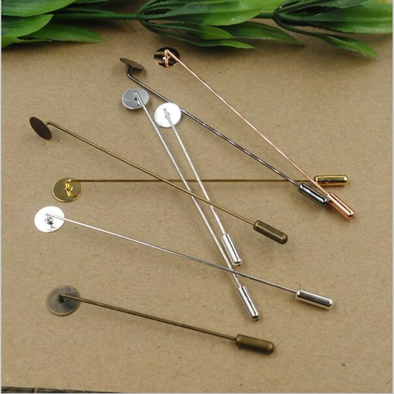 10mm Pad Copper Safety Brooch Pins Lapel Pin Blank for men Brooches, metal men lapel pins base bezel setting for suits badge 1 3 4 44mm 500sets plastic pin badge material blank button parts tin badge components