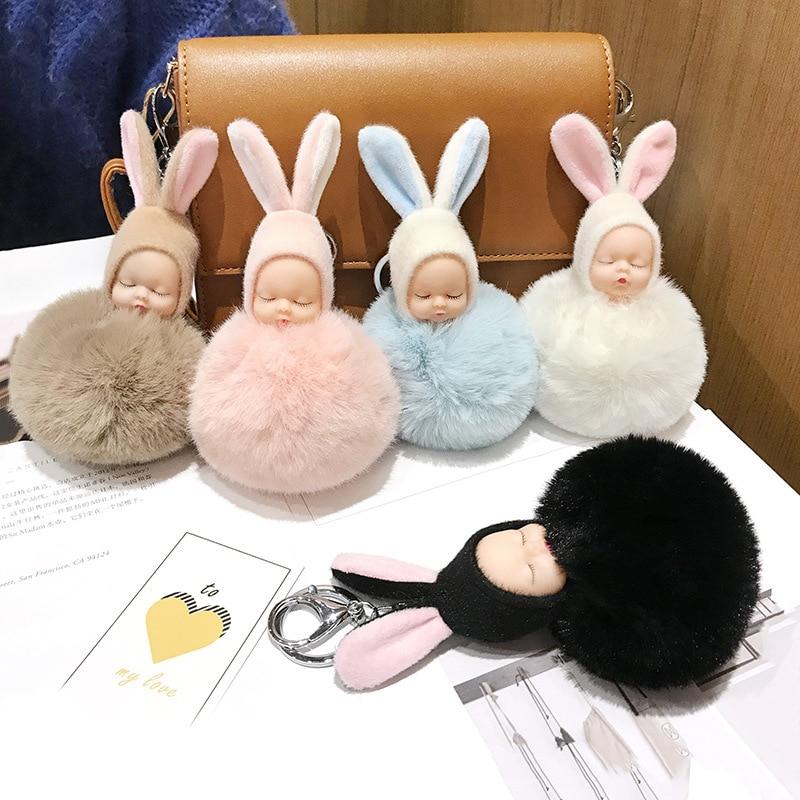 2019 New Fashion Pink Dreaming Doll Keychain Cute Cartoon Artificial Rabbit Hair Ball Car Key Chain Plush Bag Pendant Female