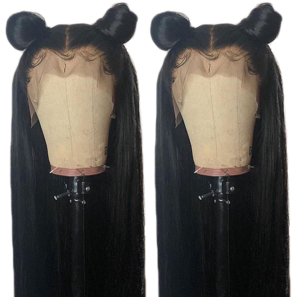 Transparent Lace Straight Lace Front Human Hair Wigs Peruvian Remy Hair 8 24 Inch Natural Color