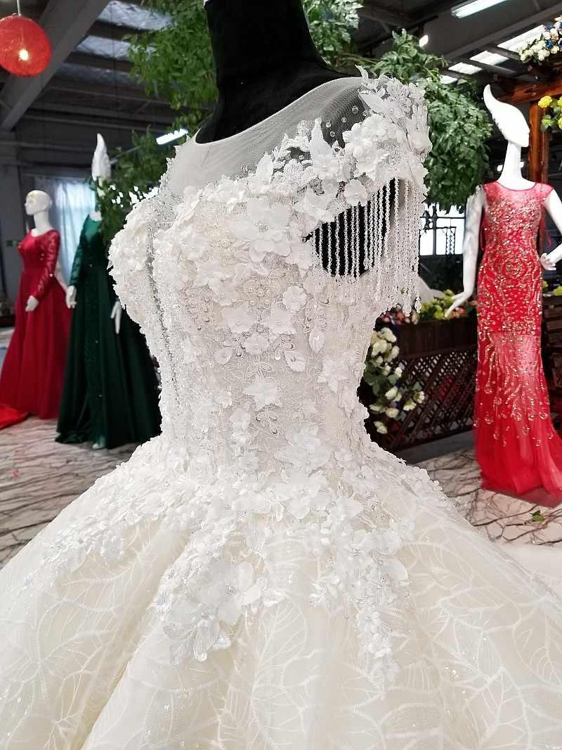 LS10012 свадебное платье кружевные цветы2018 Роскошные свадебные платья с коротким рукавом с длинным поездом и бисером