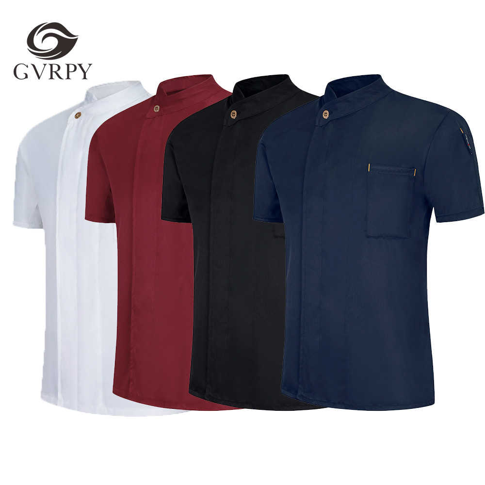 Zomer Unisex Geborduurd Ademend Chef Jacket Uniform Voedsel Dienst Korte Mouw Werkkleding Bakkerij Restaurant Hotel Chef Uniform