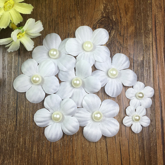 2017 new 100pcs white lace flower fabric flowers for diy wedding 2017 new 100pcs white lace flower fabric flowers for diy wedding dress decor pearl lace trim mightylinksfo Images