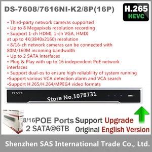 Hikvision DS-7604NI-K1/4P DS-7608NI-K2/8P DS-7616NI-K2/16 P 4K NVR 1/2SATA z 4/8/16 porty POE wbudowany Plug & Play H265 NVR