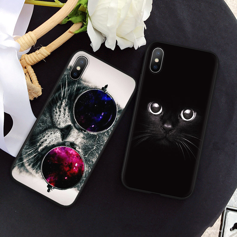 Cartoon Kat Soft Tpu Frosted Zwarte Cases Voor Iphone 5 S 5 S Se X 10 Telefoon Case Voor Iphone Xs Max 6 S 6 7 8 Plus Coque Cover Funda Prijsafspraken Volgens Kwaliteit Van Producten