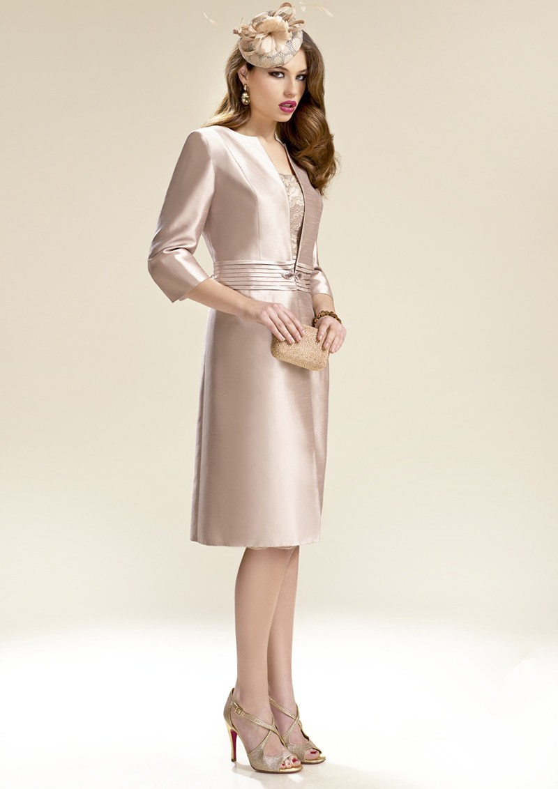 Mother Of The Bride Outfits 2016: 2016 With Jacket Knee Length Sheath Satin Mother Of The