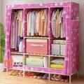Oxford de madera de madera de montaje en armario negrita plegable de tela simple moderna de la lona dormitorio armario de tela gruesa