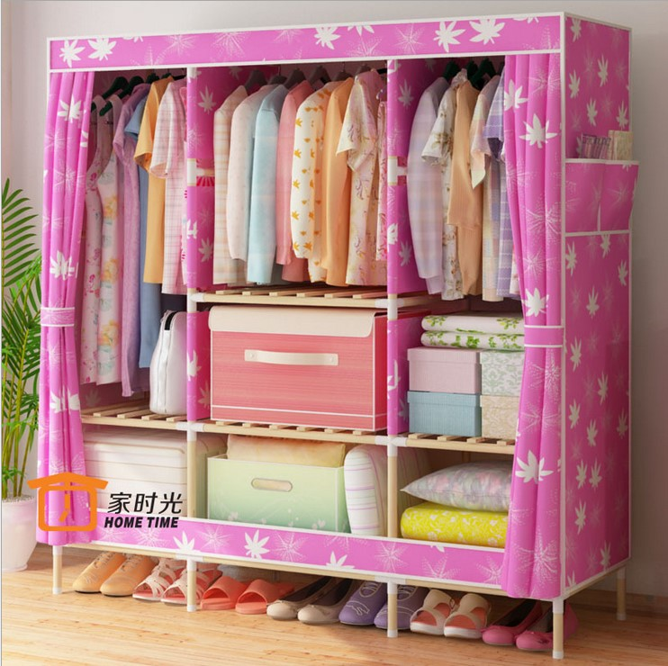 Oxford Wood Wooden Cabinet Assembly Bold Cloth Folding Simple Modern Canvas  WARDROBE BEDROOM Thick Cloth(