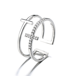 Nowy modny cyrkonia kryształowy krzyż pierścionki złoty podwójny geometryczny regulowany pierścień dla kobiet moda urocza biżuteria 2020