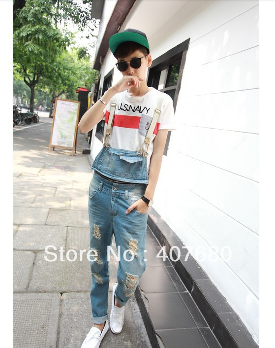Excellent men's fashion hole ripped denim jumpsuit overalls cargo pants distressed washed light color pencil jeans  new 2016 fashion brand women washed denim casual hole romper jumpsuit overalls jeans macacao feminino vintage ripped jeans