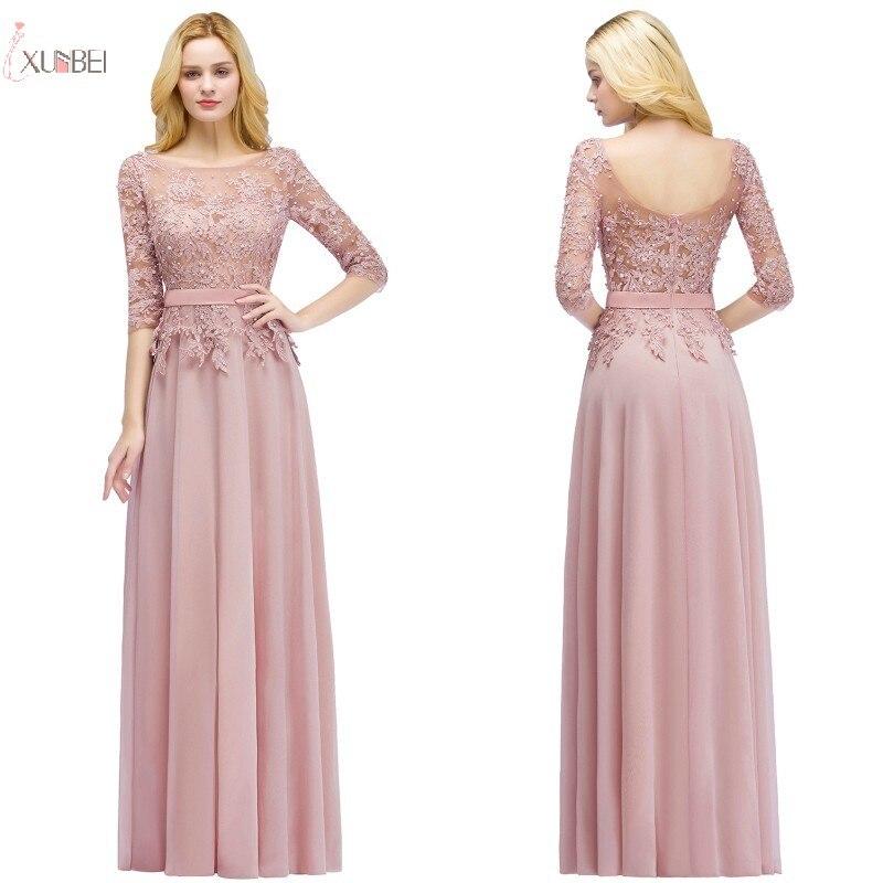 2019 Pink Chiffon Long   Prom     Dresses   Half Sleeve Applique Pearl   Prom   Gown vestidos de gala