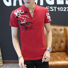 New Summer Fashion Brand Trend Print Slim Fit Short Sleeve T Shirt Men Tee V-Neck Casual Men T-Shirt Cotton T Shirts Plus Size