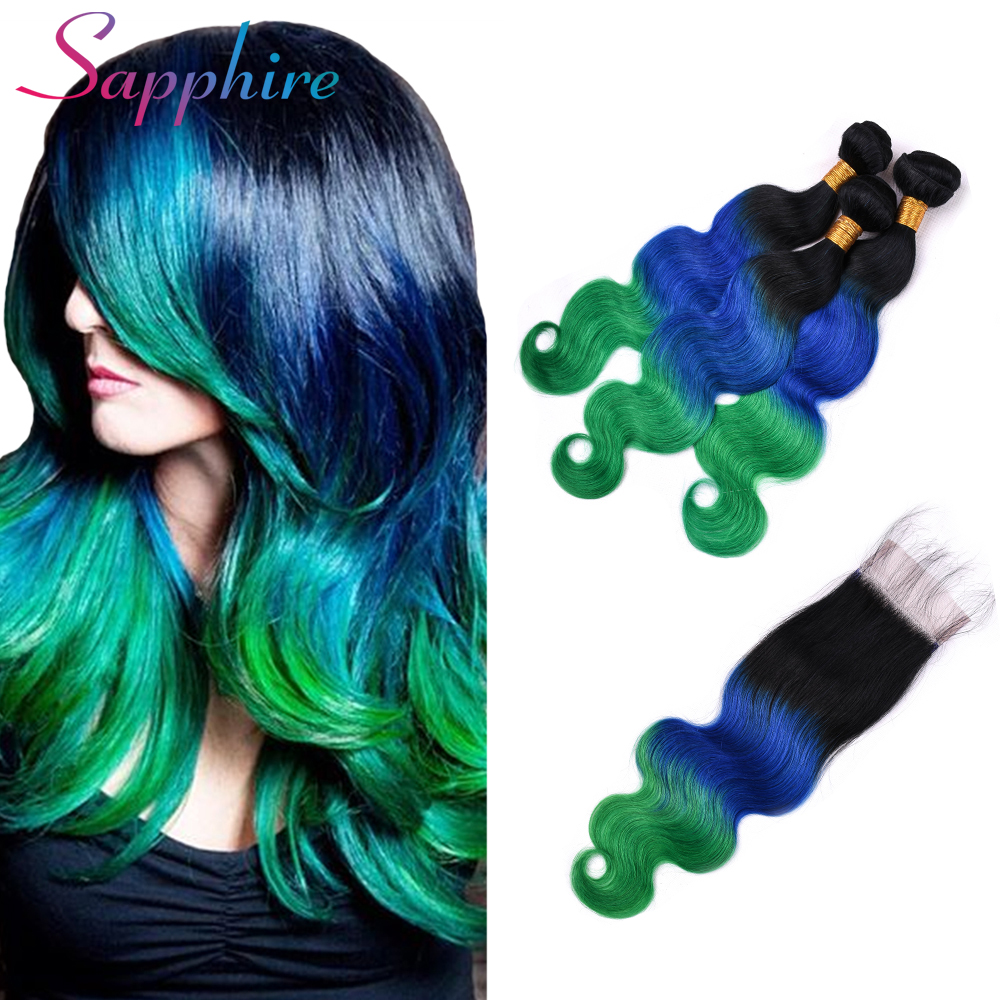 Sapphire Hair Body Wave Bundles With Closure Remy Human Hair Bundles With Closure Brazilian Hair Weave Ombre Color Dark Roots