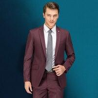 Куртки + брюки Для мужчин высокое качество Fit Бизнес костюм с брюками мужской платье для свадьбы костюм из двух частей 2018