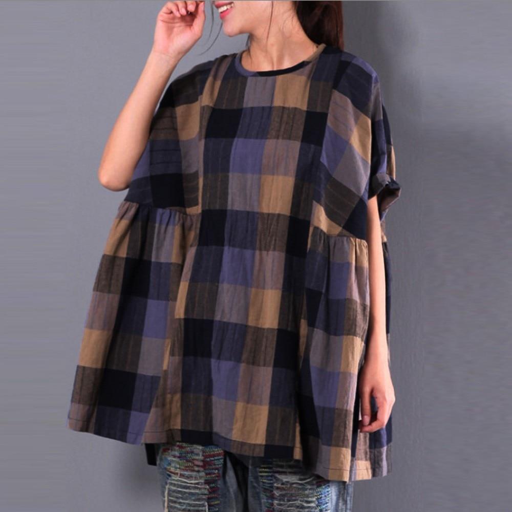 Damas Harajuku Corea Ropa rojo De Túnica Manga Y Moda Plaid Para Tops Blusas Camisas Larga Top Mujeres 2018 Caqui BqAPnOOX6
