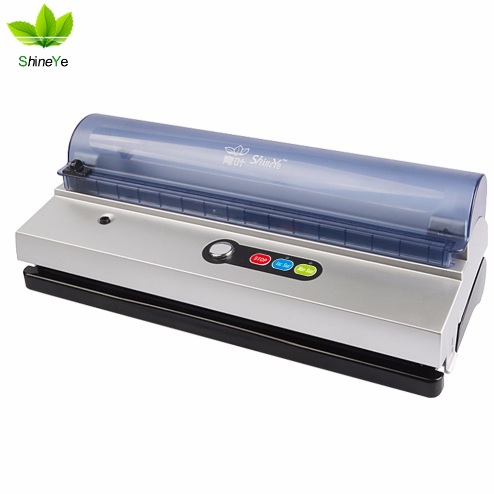 ShineYe DZ-320 220V/110V Household Vacuum Sealer Packaging Machine keep food flesh Vacuum Packer Including 10pcs+1roll Bag sf 270 220v household food vacuum sealer packaging machine film sealer vacuum packer 300w manual sealing machine