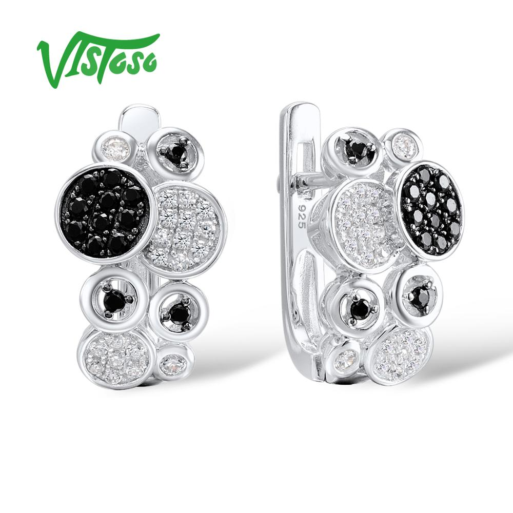 VISTOSO 925 Sterling Silver Stud Earrings Jewelry Earrings For Women Round Black Spinel White Cubic Zirconia Earrings Female pair of stylish rhinestone triangle stud earrings for women