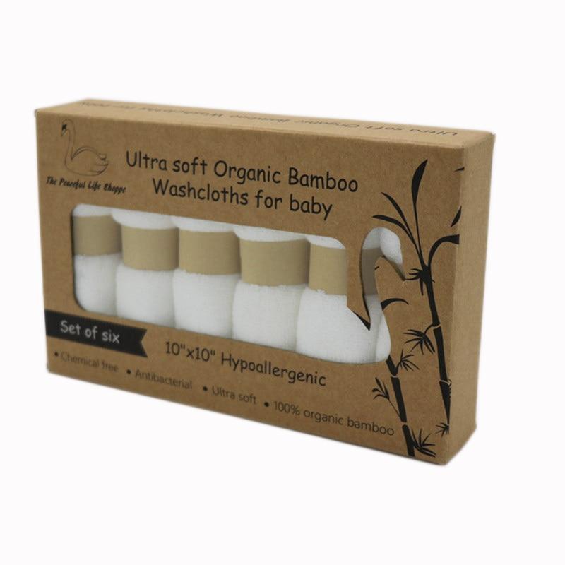 Organic Premium Bamboo Baby Washcloths 100%bamboo Fiber Natural Baby Towel 6 Pack/set Per Box Size 10