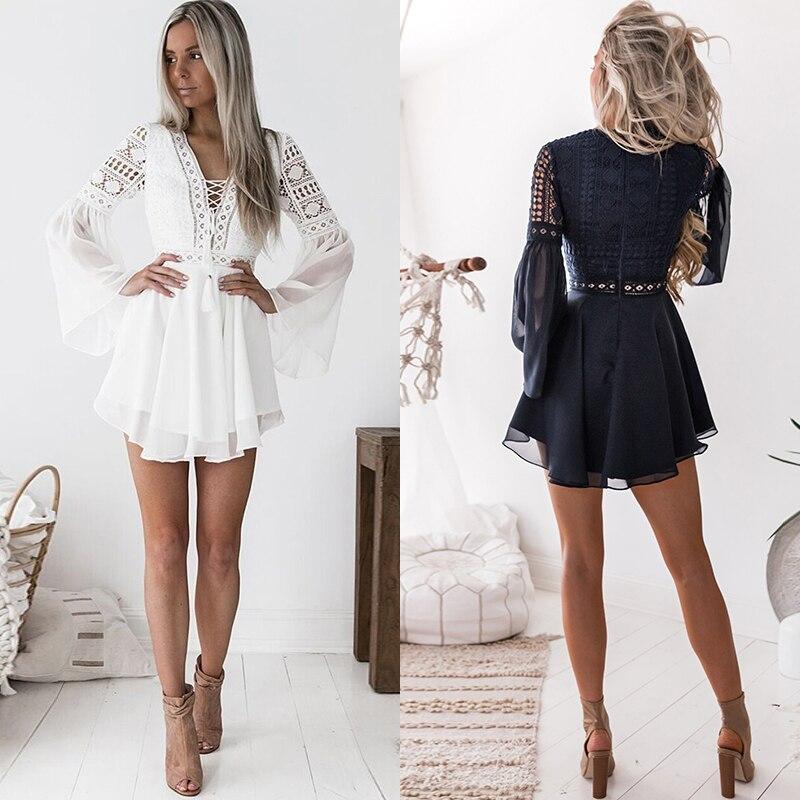 Hollow Out White Dress Sexy Women Mini Chiffon Dress 28