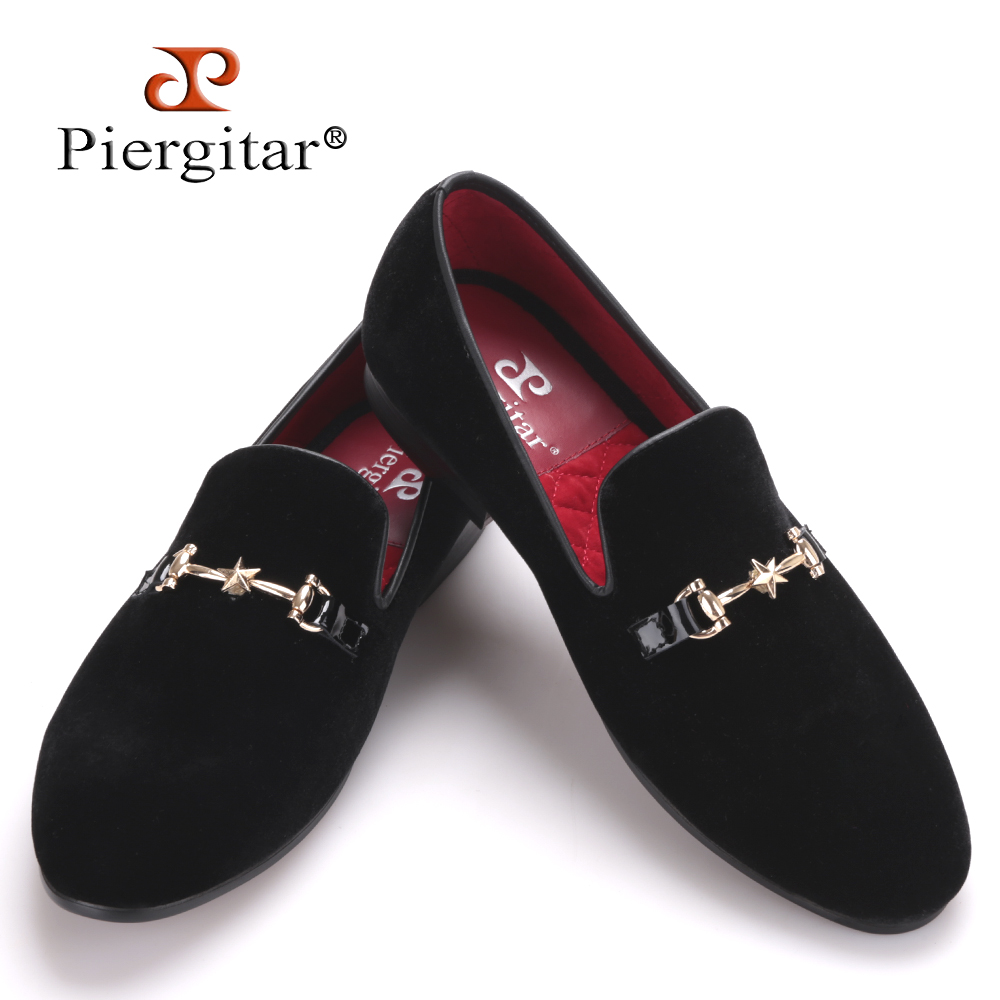 2016 Piergitar New Style Velvet Men Shoes with Five-pointed star Metal buckle Male Loafers Smoking Slipper Plus size men's flats